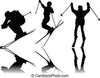 silhouettes, sport, ski