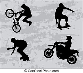 silhouettes, sportende, extreem