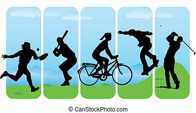 silhouettes, sportende, vrije tijd