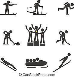 silhouettes, sportende, winter, verzameling