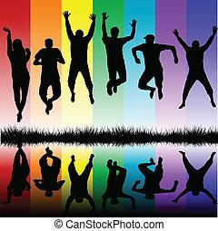 silhouettes, springt, jongeren