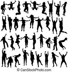 silhouettes, springt, kinderen, jongeren