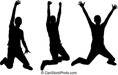 silhouettes, springt, mensen