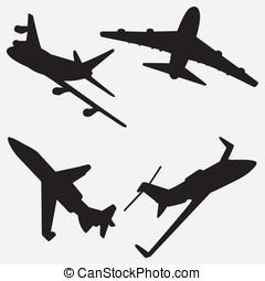 silhouettes, straalvliegtuig