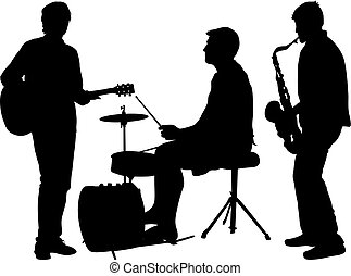 Silhouettes street musicians playing instruments on a white background