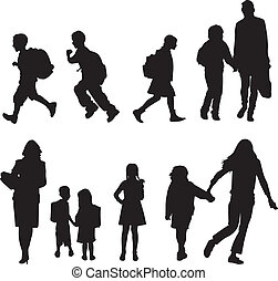 silhouettes students - silhouettes of children walking to...