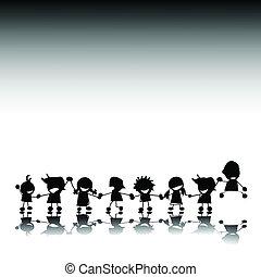 silhouettes, styilized, enfants