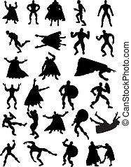 silhouettes, superhero