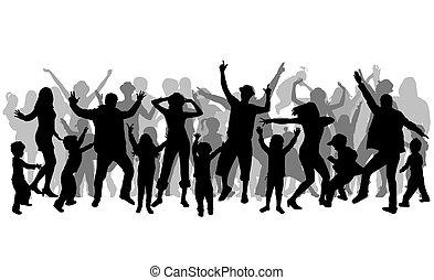 silhouettes., taniec, ludzie