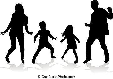 silhouettes., tanzende menschen