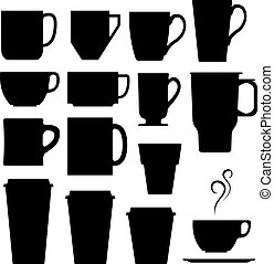 silhouettes, tasse thé, café