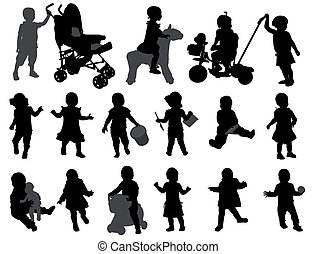 silhouettes, toddler, verzameling