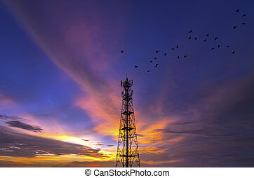 silhouettes, tour télécommunication