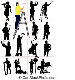 silhouettes., trabajadores, woma, hombre