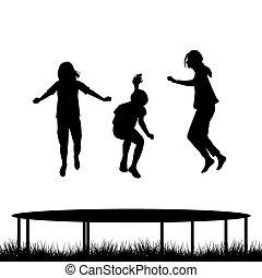 silhouettes, trampoline, jardin, sauter, enfants