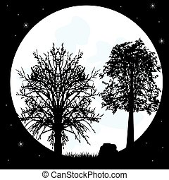 Silhouettes tree on background of the moon