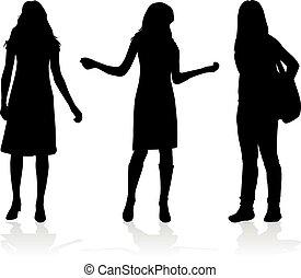 silhouettes, trois, women.