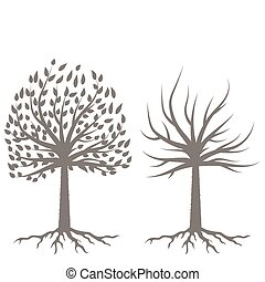 silhouettes, twee, bomen