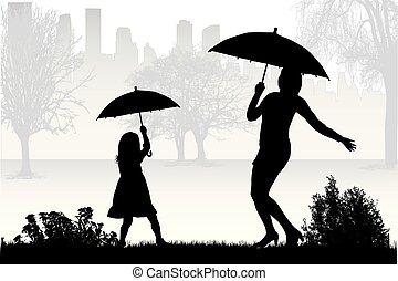 silhouettes, umbrella., sous