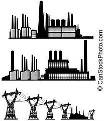 silhouettes, usines, trois