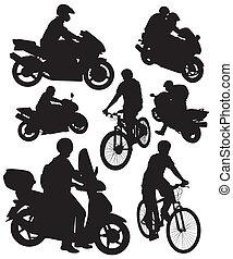 silhouettes, vélo, motocyclettes