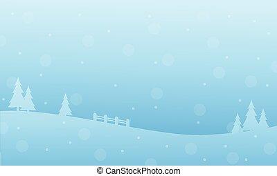 silhouettes, vacances, paysage hiver, noël