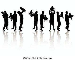 silhouettes, vader, samen, zoon