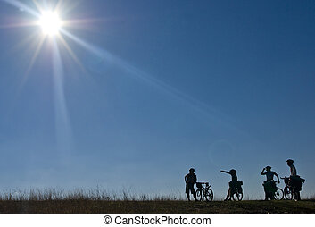 silhouettes, van, bicyclists