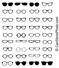 silhouettes, van, brillen