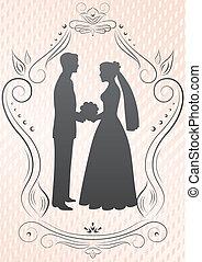 silhouettes, van, de, bruid en bruidegom