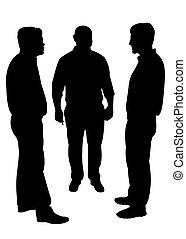 silhouettes, van, drie mannen, staand, een