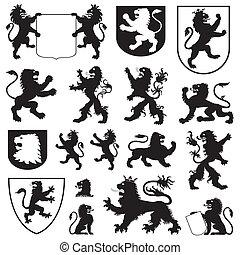 silhouettes, van, heraldisch, leeuwen