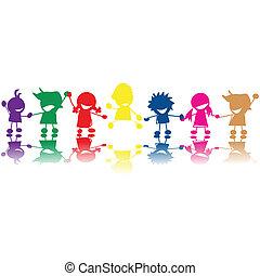 silhouettes, van, kinderen