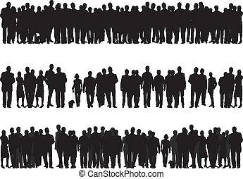 silhouettes, van, mensen