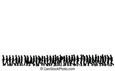 silhouettes, van, mensen lopend