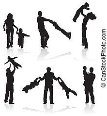 silhouettes, van, ouders, met, kinderen