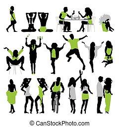 silhouettes, van, people:, zakelijk, gezin, sportende, mode, liefde