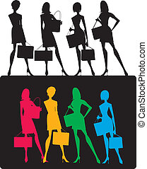 silhouettes, van, shoppen , meiden