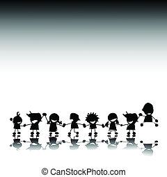 silhouettes, van, styilized, kinderen