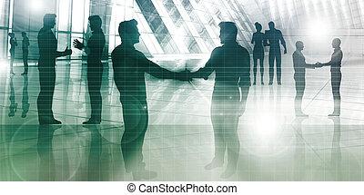 silhouettes, van, twee, zakenman, schuddende handen
