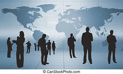 silhouettes, van, zakenlui, op het werk