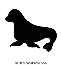 silhouettes, van, zeehondje, vrijstaand, zwart wit, vector, illustratie