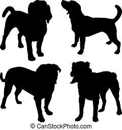 silhouettes, vecteur, étagère, chiens