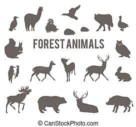 silhouettes, vecteur, animaux, forêt, set.