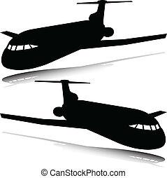 silhouettes, vecteur, avion