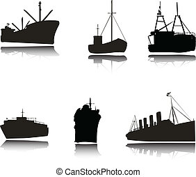 silhouettes, vecteur, bateaux