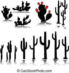 silhouettes, vecteur, cactus