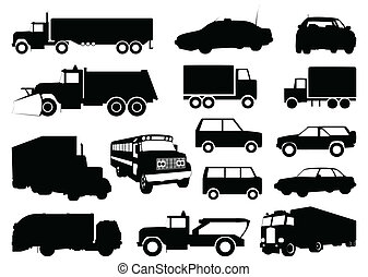silhouettes, vecteur, cars., illustration, collection