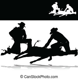 silhouettes, vecteur, chasse, homme