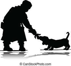 silhouettes, vecteur, chien, homme
